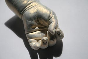 Baby Hand Casting- We made this using Accu-Cast 380-CC alginate, LiquiStone and Flash Copper Sheer paint